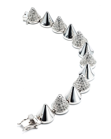 Alternating-Pave Cone Bracelet, Silver Plated