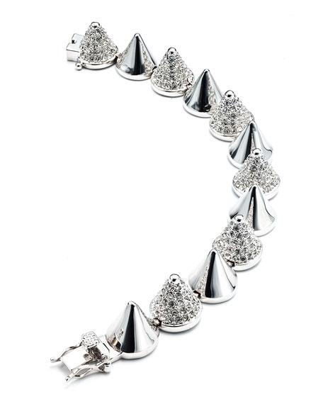 Alternating-Pave Cone Bracelet, Silver Plated