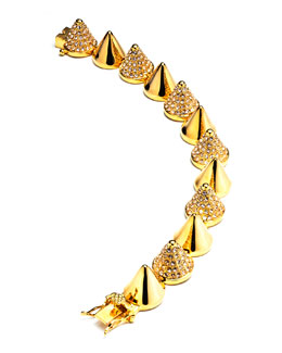 Eddie Borgo Alternating-Pave Cone Bracelet, Yellow Gold