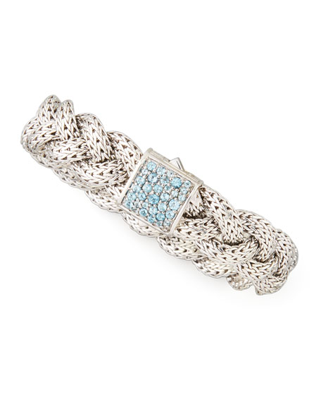Classic Chain Medium Braided Silver Bracelet, Blue Topaz