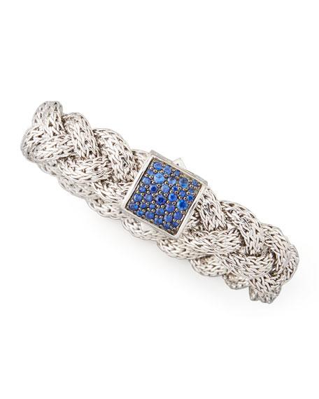 Classic Chain Medium Braided Silver Bracelet, Blue Sapphire