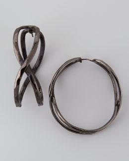 Robert Lee Morris Hematite Wavy Hoop Earrings