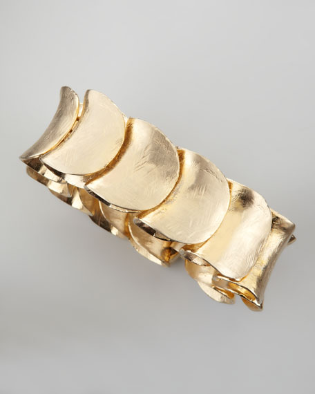 Large Gold-Plated Shingle Bracelet