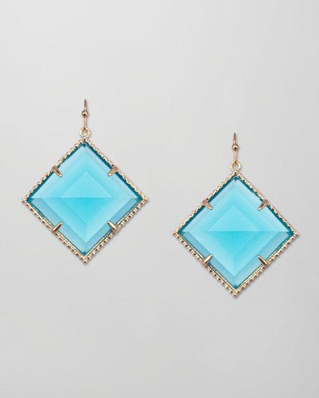 Scarlett Square-Facet Drop Earrings, Turquoise