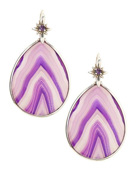 Purple Agate Teardrop Earrings