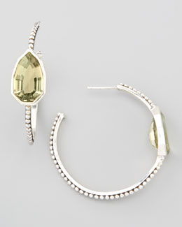 Stephen Dweck Cathedral Small Hoop Earrings, Green Amethyst