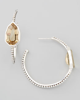 Stephen Dweck Cathedral Small Hoop Earrings, Yellow Quartz