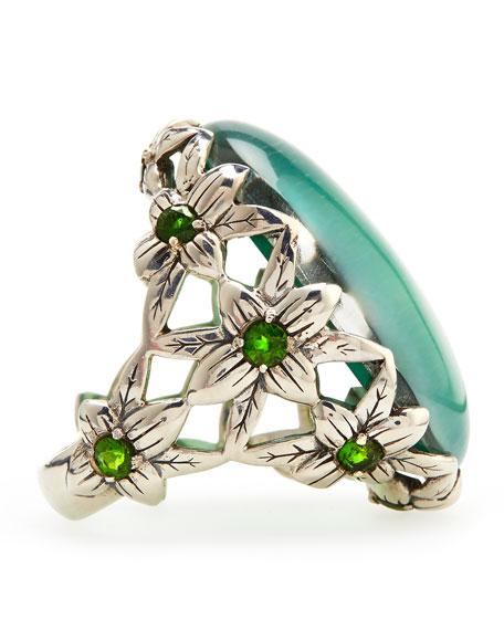 Green Amethyst Delphinium Ring
