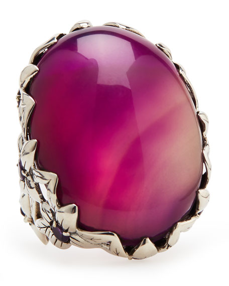 Purple Agate Delphinium Ring