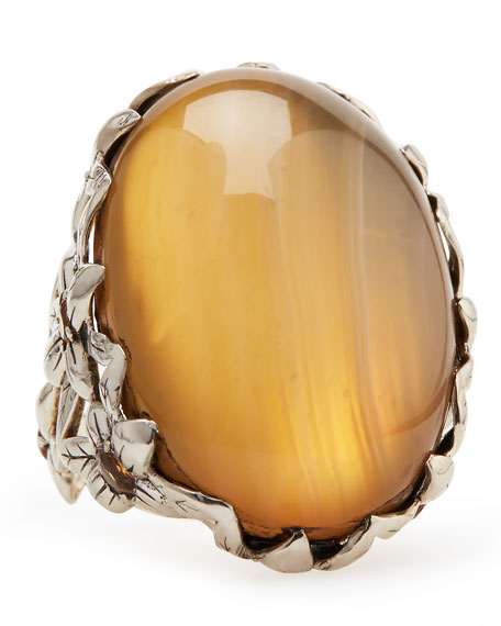 Natural Agate Delphinium Ring