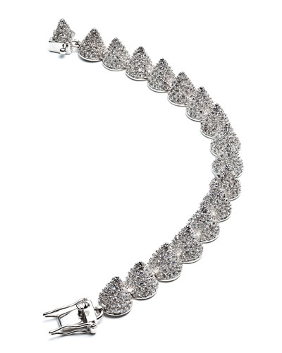 Small Pave Cone Bracelet, Silver Plate