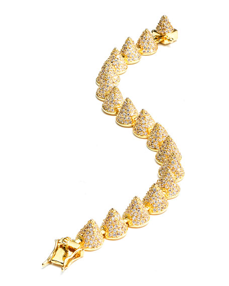 Small Pave Cone Bracelet, Yellow Gold