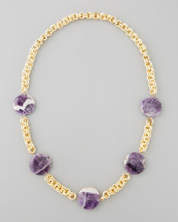 Devon Leigh Amethyst Coin Necklace, Purple
