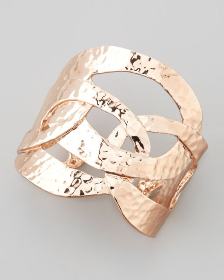 Rose Golden Hammered-Ring Cuff Bracelet