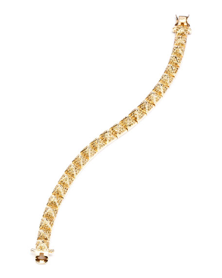 Small Pave Pyramid Bracelet, Yellow Gold