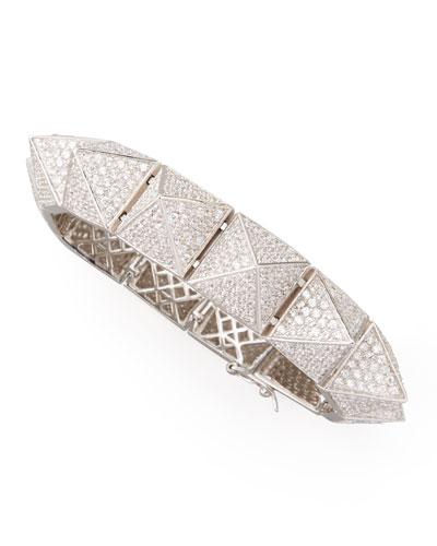 Large Pave Pyramid Bracelet, Silvertone