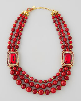 Jose & Maria Barrera Beaded Ornamental Necklace, Red