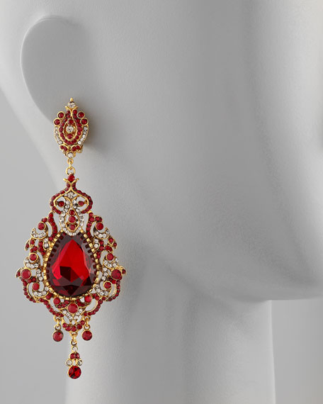 Teardrop Chandelier Clip Earrings, Red