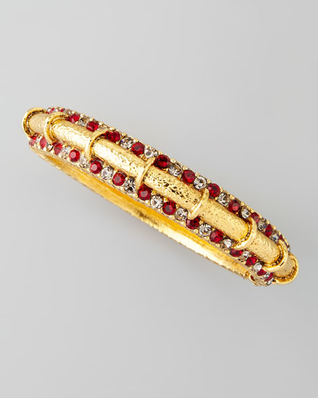 Red Pave Crystal Gold-Plate Bangle