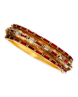 Jose & Maria Barrera Red Crystal Baguette Gold-Plate Bangle