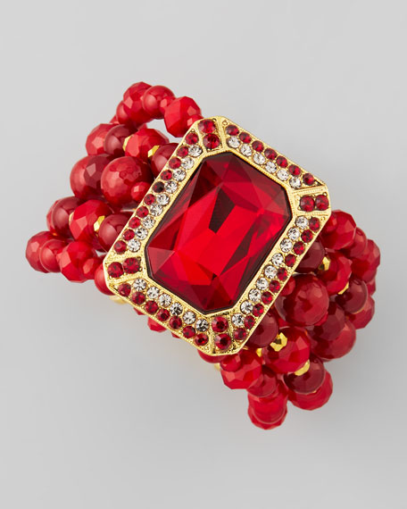 Beaded Ornamental Bracelet, Red
