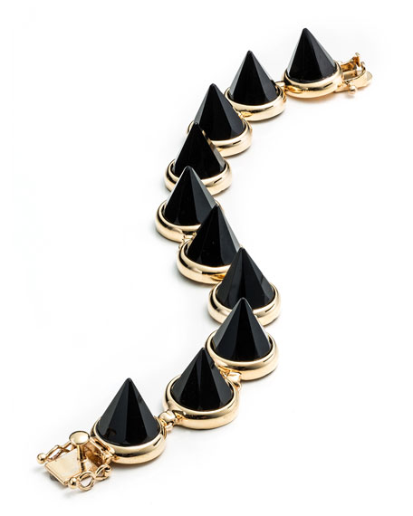 Yellow Gold-Plated Onyx Cone Bracelet