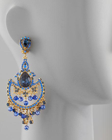Draped Crystal Chandelier Clip Earrings, Blue