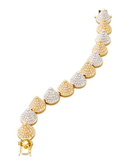 Two-Tone Pave Cone Bracelet, Yellow Gold/Silver