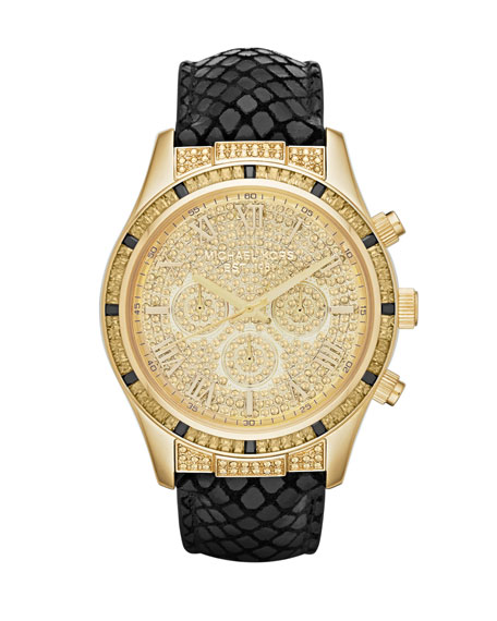 Mid-Size Black Leather Layton Glitz Watch