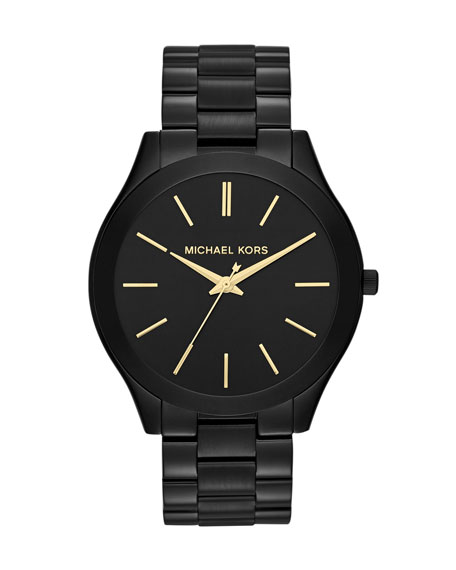 Mid-Size Black Stainless Steel Runway Three-Hand Watch