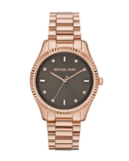 Michael Kors  Mid-Size Rose Golden Stainless Steel Blake Three-Hand Glitz Watch