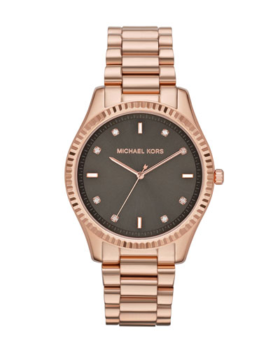 Mid-Size Rose Golden Stainless Steel Blake Three-Hand Glitz Watch