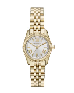 Michael Kors  Petite Gold Color Stainless Steel Lexington Three-Hand Watch