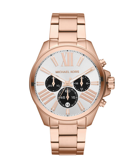 Mid-Size Rose Golden Stainless Steel Wren Chronograph Watch