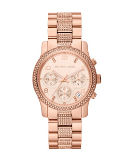 Michael Kors  Mid-Size Rose Gold Runway Chronograph Glitz Watch