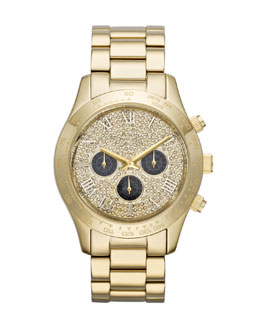 Michael Kors  Mid-Size Golden Stainless Steel Layton Glitz Watch