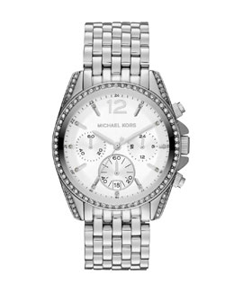 Michael Kors  Mid-Size Silver Color Stainless Steel Pressley Chronograph Glitz Watch