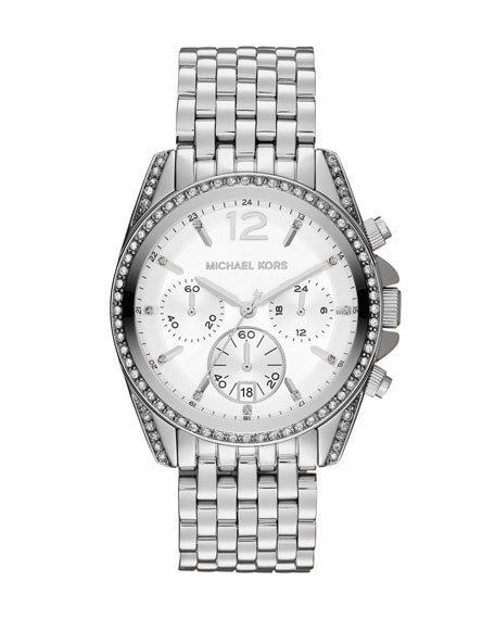 Mid-Size Silver Color Stainless Steel Pressley Chronograph Glitz Watch