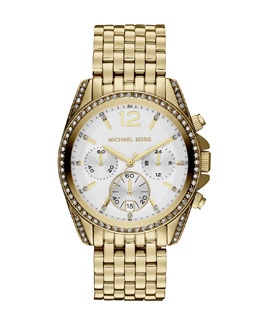 Michael Kors  Mid-Size Gold Color Stainless Steel Pressley Chronograph Glitz Watch