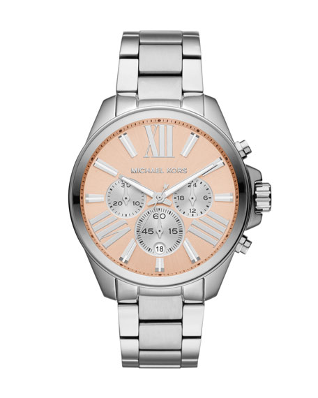 Mid-Size Silver Color Stainless Steel Wren Chronograph Watch