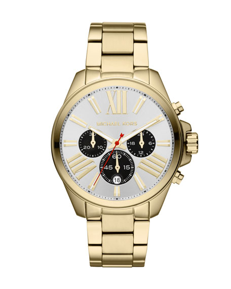 Mid-Size Golden Stainless Steel Wren Chronograph Watch