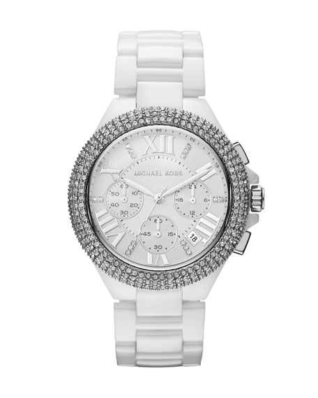 Mid-Size White Stainless Steel Camille Chronograph Glitz Watch