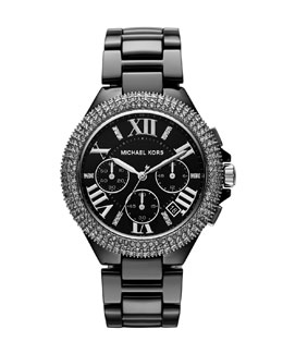Michael Kors   Mid-Size Black Stainless Steel Camille Chronograph Glitz Watch