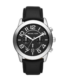 Michael Kors  Oversize Black Leather Mercer Chronograph Watch