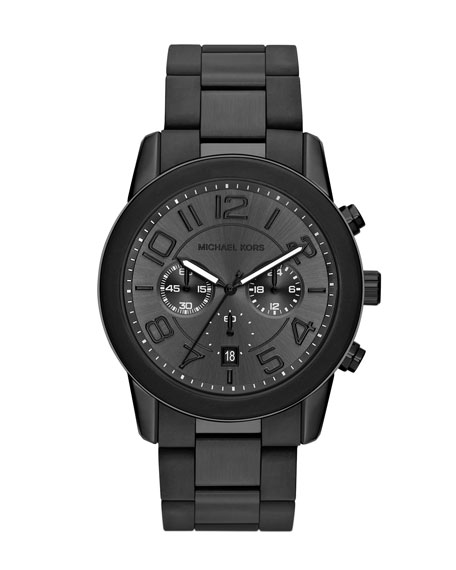 Oversize Black Stainless Steel Mercer Chronograph Watch