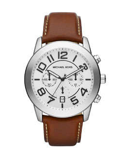 Michael Kors  Oversize Brown Leather Mercer Chronograph Watch