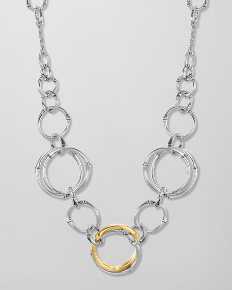 Bamboo Interlinking Silver & Gold Frontal Necklace