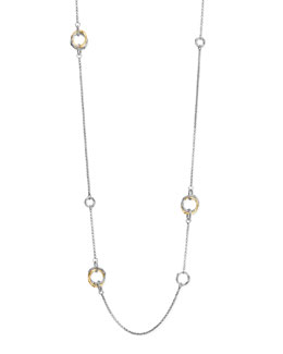 John Hardy Bamboo Silver & Gold Station Necklace