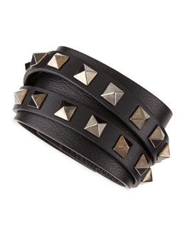 Valentino Multi-Strand Leather Rockstud Wrap Bracelet, Black