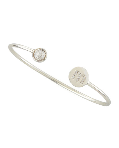 Diamond-Ball & Pave Diamond Initial Bracelet, Silver